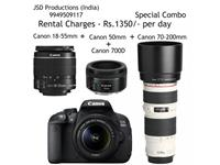 Special Combo offer. Get DSLR Canon 700D for Rent in Hyderabad Hyderabad on rent in Hyderabad, India